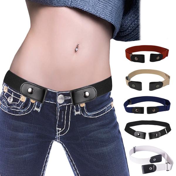 Women Men Unisex Buckle Free Stretchy Elastic Waist Belt Waistband Adjustable 0U