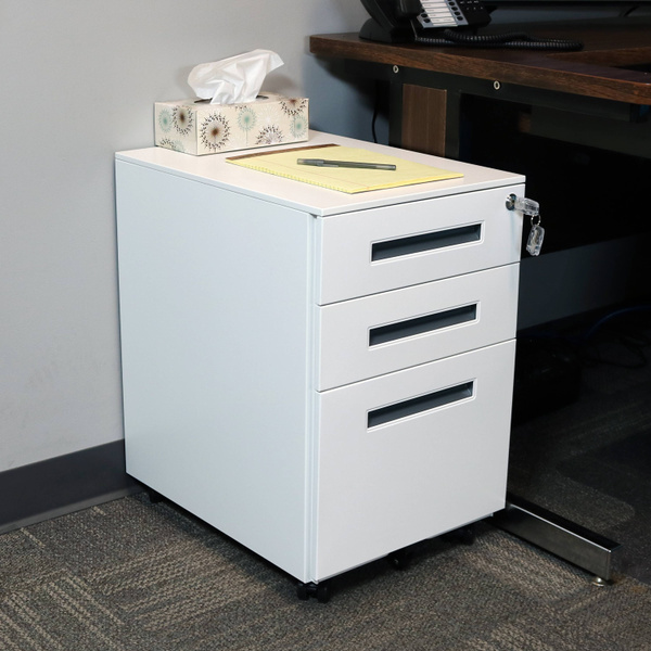Small Steel 3-Drawer Filing Storage System CASL Brands Rolling ...