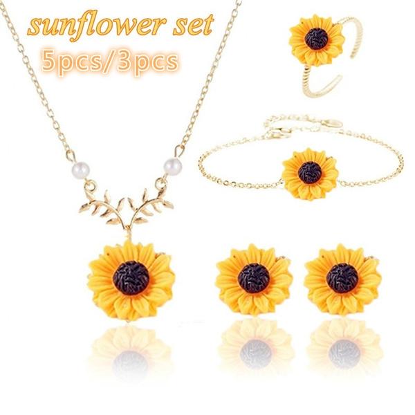goldplated, leaf, sunflowerbracelet, Sunflowers