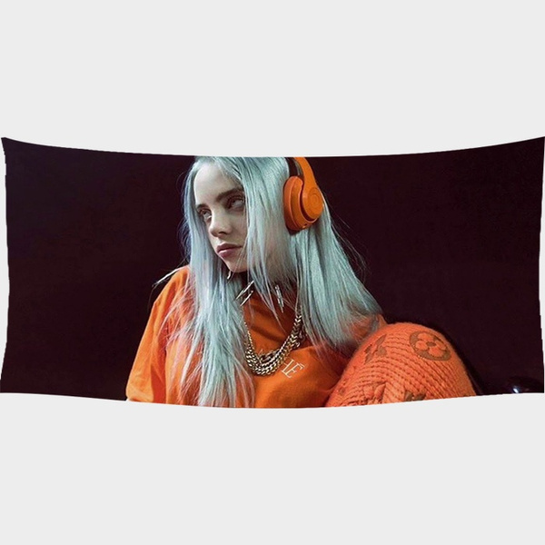 Beautiful Billie Eilish Color Girl Billie Eilish Printed Tapeçaria Wall Tapestry Kids Bedroom Decor Beach Towels Cover Wall Hanging Tapestry Fashion