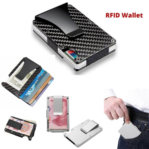 Metal Wallet Money Clip RFID Blocking Minimalist Credit Card Holder Stylish