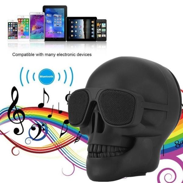 Mini, stereospeaker, Bass, skull