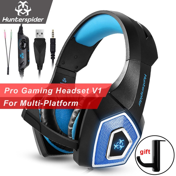 Hunterspider 3 5mm Gaming Headset Super Bass Gaming Headphones Game  Earphone with Mic LED Light for PC Laptop PS4 XBOX ONE (Color: Blue / Red