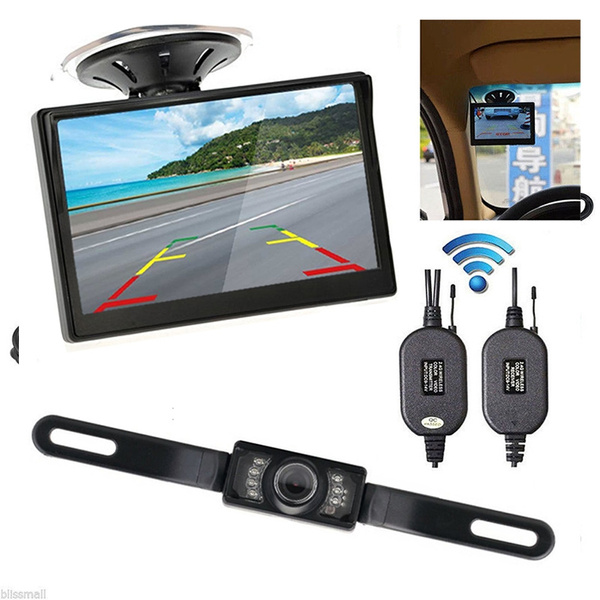 "Backup Reverse Camera Night Vision Kit Wireless 5/"" Monitor Car Rear View System"
