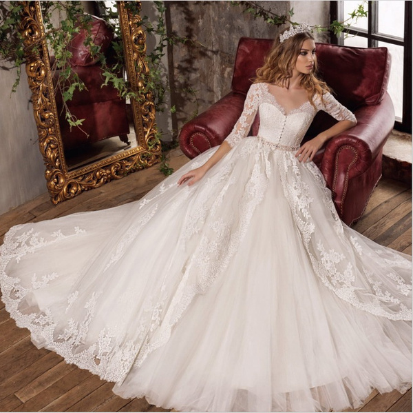 ad57010f11 New Fashion Simple 2018 Wedding Dresses Lace Three Quarter Sleeve O-Neck  Elegant Plus size Vestido De Noiva Bride Q