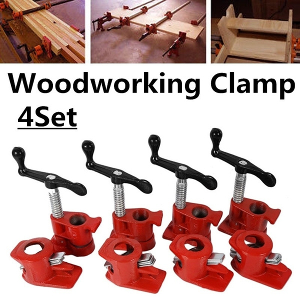 Groovy 4 Set 3 4 Quick Release Heavy Duty Wide Base Iron Wood Metal Clamp Wood Gluing Pipe Clamp Workbench Lamtechconsult Wood Chair Design Ideas Lamtechconsultcom