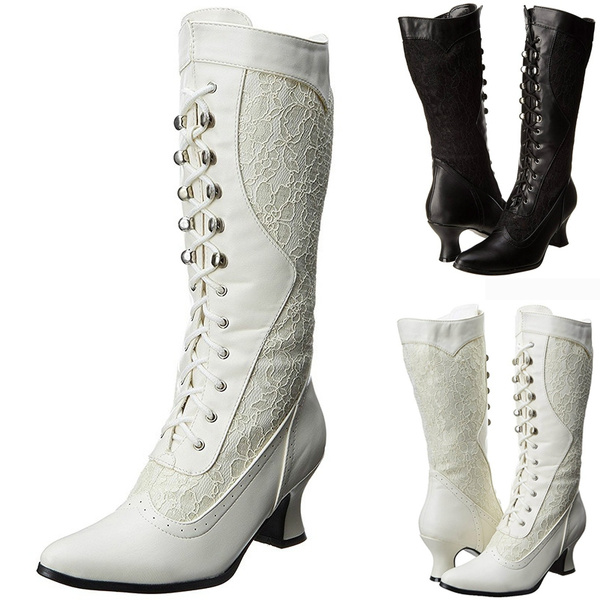5c23e01f249 Autumn Winter New Women's Fashion Mid Calf Boots Casual Lace High Heel  Leather Boots Ladies Lace Up Shoes chaussure femme Women's Wedding Boots ...