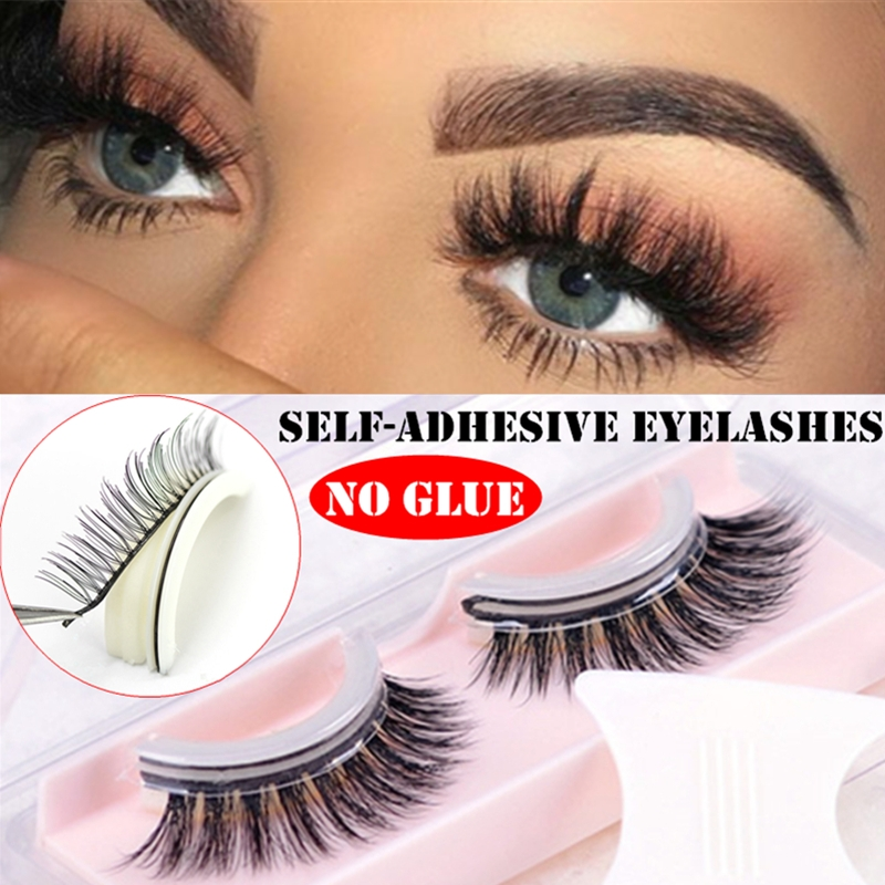 17866469dcd Details about 3D Self Adhesive False Eyelashes Extension Reusable Natural  Curly Makeup Tools