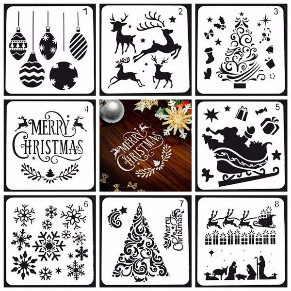 Christmas Stencils For Wood.8pcs Christmas Stencils Series Plastic Set Elk Stencil Merry Christmas Stencil Small Deer Stencil Kit Snowflake Stencil Santa Stencil Drawing Painting