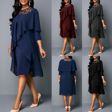 Plus Size, lacepatchwork, pleated dress, Lace