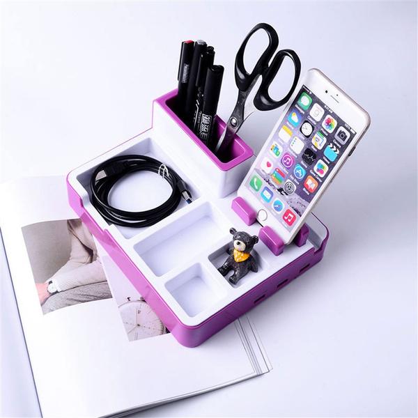 Desk Organizer Pen Holders Desk Stand Charger 3 USB Ports