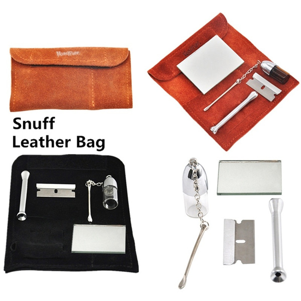 Honeypuff Leather Tobacco Pouch Bag Glass Snuff Bottle Snuff Snorter Tool  Mirror Sniffer Straw Snuff Kit Snorting Set 5Pcs Set