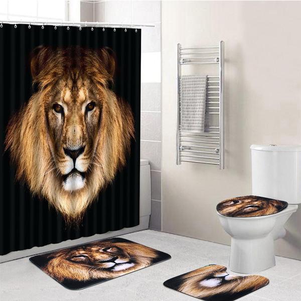 Black Lion Style Bathroom Decoration 180x180cm Waterproof Shower Curtain 3pcs Set Non Slip Soft Rugs Toilet Lid Cover Pedestal Rug Carpet