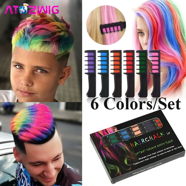 Hot 6 Colors/Set Temporary Hair Dye Color Chalk Comb for Personal Salon Use  for Halloween Party Fans Cosplay Costume Makeup For Adults Kids Women Men,  ...