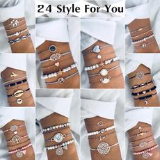 Crystal Bracelet, Turquoise, Heart, multi-layer bracelet