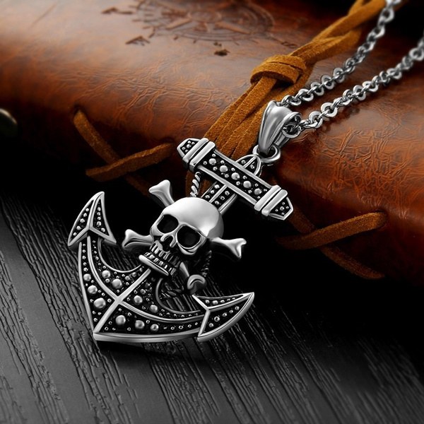 Stainless Steel Skull Anchor Pendant Necklace For Men And Women Cosplay Party Pirate Gothic Jewelry by Wish