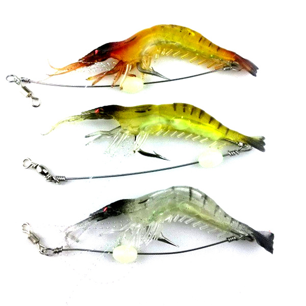 20Pcs Artificial Fishing Lure Bionic Shrimp Soft Bait Fishing Tackle Noctil H4U8