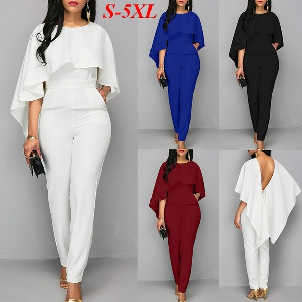 c4b9f41bfbae New Casual Elegant Lace Women Jumpsuit Wide Leg Long Sleeve Hollow Out Slim  Work Office Rompers Macacao Feminino