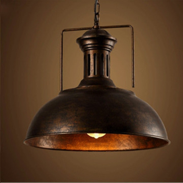 Chr Retro Ceiling Light Lamp Vintage Shade Fixture Lighting For Cafe Home Decor Color Black Rust