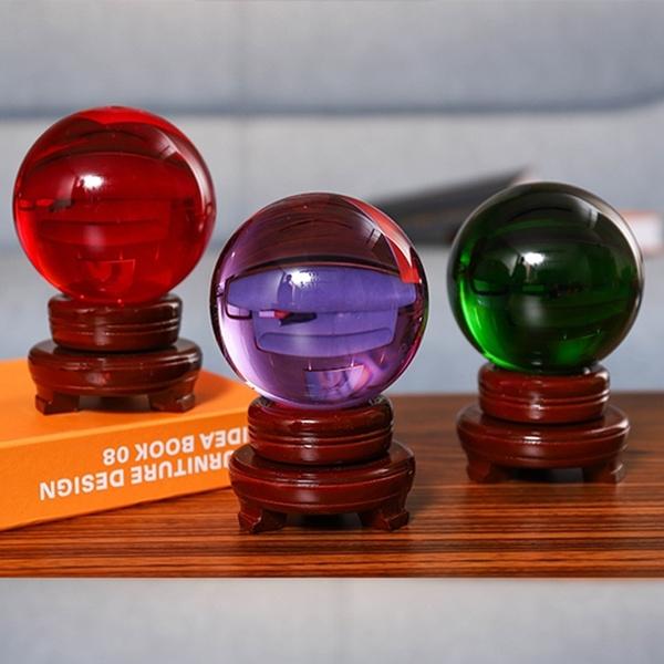 80mm Photography Crystal Ball Ornament FengShui Globe Divination Quartz  Magic Glass Ball Home Decor Sphere
