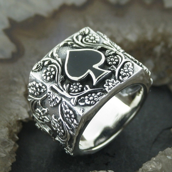 Men's Fashion 316 L Stainless Steel Gothic Flower Spades A Poker Ring Punk Biker Jewelry by Wish
