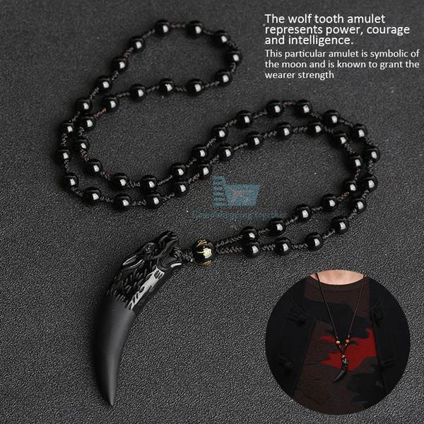 2019 Natural Black Stone And Ice Obsidian Tooth Pendant Necklace Wolf Amulets And Talismans Couple Necklace For Men And Women by Wish