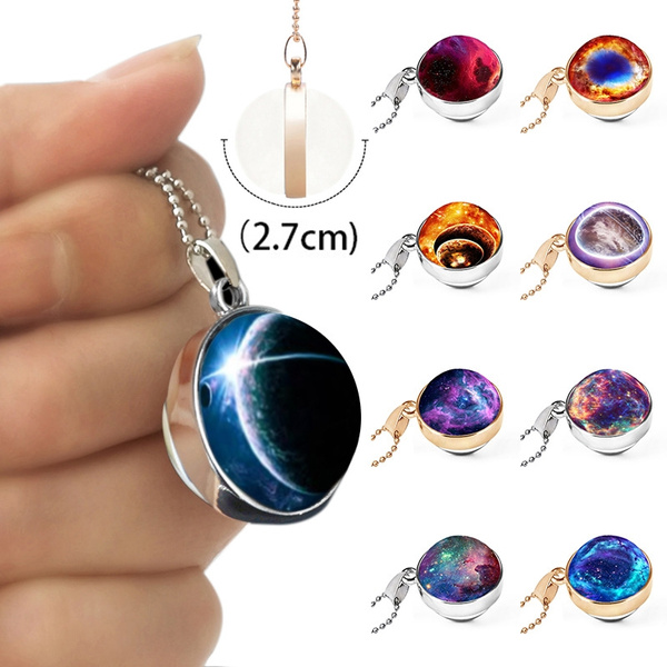 Glass Dome Unique Solar System Necklace Galaxy Ball Double Sided Planet Pendant