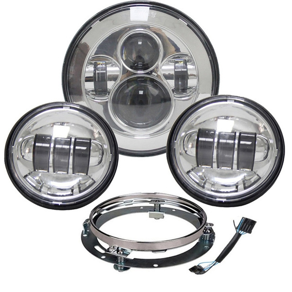 7 Chrome Motorcycle Led Headlight Fog Passing Lights DOT Kit Set for Touring Road King Ultra Classic Electra Street Glide Tri Cvo Heritage Softail Deluxe Fatboy Chrome