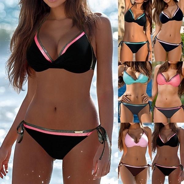 ada135d727 5 Colors Fashion Women Push Up Bikini Set Sexy Solid Color Summer Hot  Bathing Suit Swimsuit Casual Beachwear Bra + Bikini Bottom | Wish