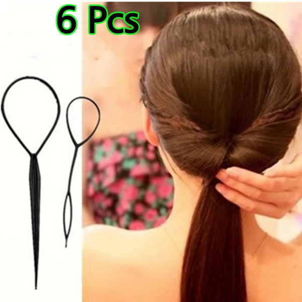 6pcs 3set Plastic Hair Loop Styling Tool Magic Topsy Tail Hair Braid Ponytail Styling Clip Bun Maker For Girls Hairstyle