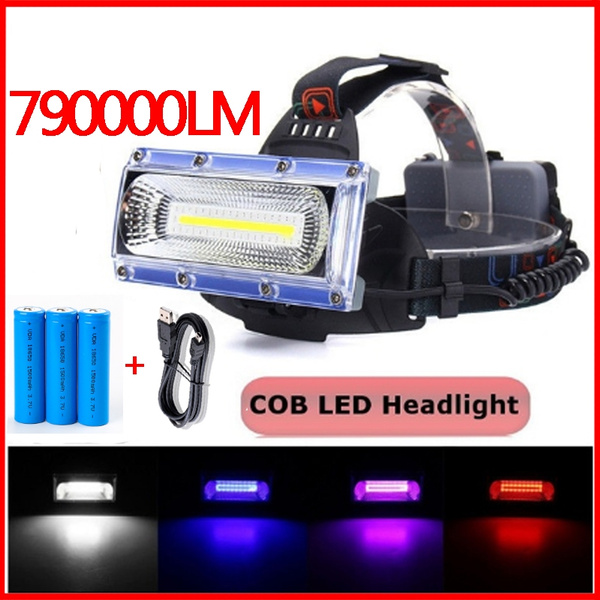 30W COB Headlight LED Headlamp Head LED Torch USB Rechargeable Outdoor Lighting