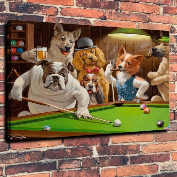 Canvas Print Dogs Playing Pool Billiards Oil Painting on Canvas Art Decor Poster