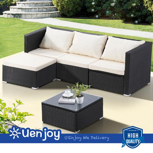 Fabulous Uenjoy 5Pc Wicker Rattan Patio Sofa Set Outdoor Garden Furniture Black Andrewgaddart Wooden Chair Designs For Living Room Andrewgaddartcom