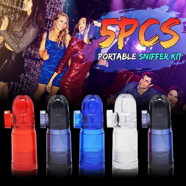 5PCS Snuff Boxes Clear Snorter Sniffer Acrylic Snuff Bullet Snuffer  Dispenser Plastic Snorter Rocket Box Nasal