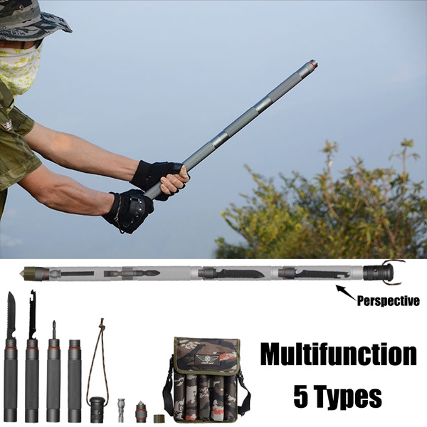 Portable Walking Hiking Trekking Poles Tactical Stick Survival Multifunction