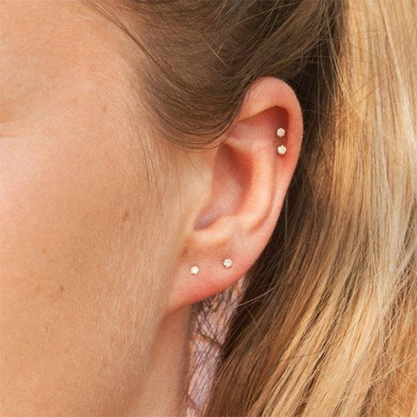 Set Of 2 Tiny Diamond Studs Diamonds Stud Earrings Small For Women