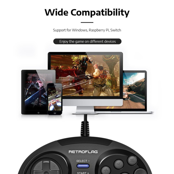 Retroflag MEGAPI Classic Wired USB Controller Game Controller for Switch /  Raspberry Pi / Windows