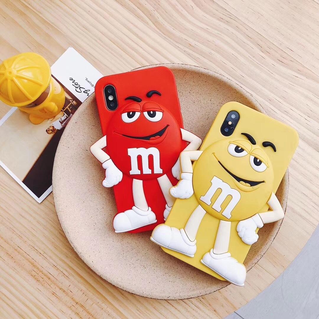 Чехлы для телефонов Силиконовый чехол обложка с забавным мультяшным шоколадным 3D персонажем M&Ms для iPhone 6 / 6s / 7 / 8 iphone 6p / 6sp /7 p /9 pl  iphone x xs (Фото 2)