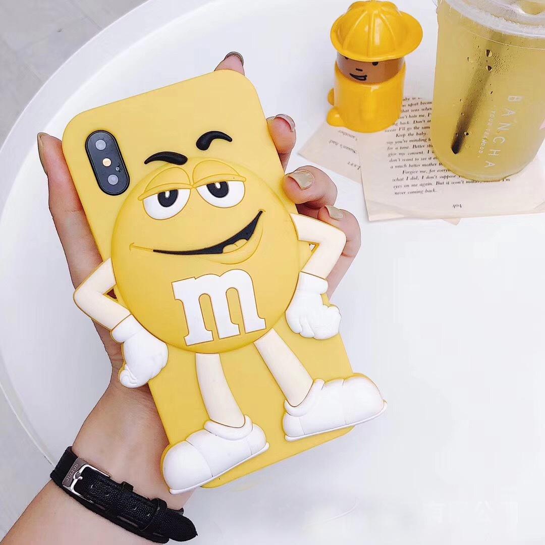 Чехлы для телефонов Силиконовый чехол обложка с забавным мультяшным шоколадным 3D персонажем M&Ms для iPhone 6 / 6s / 7 / 8 iphone 6p / 6sp /7 p /9 pl  iphone x xs (Фото 4)