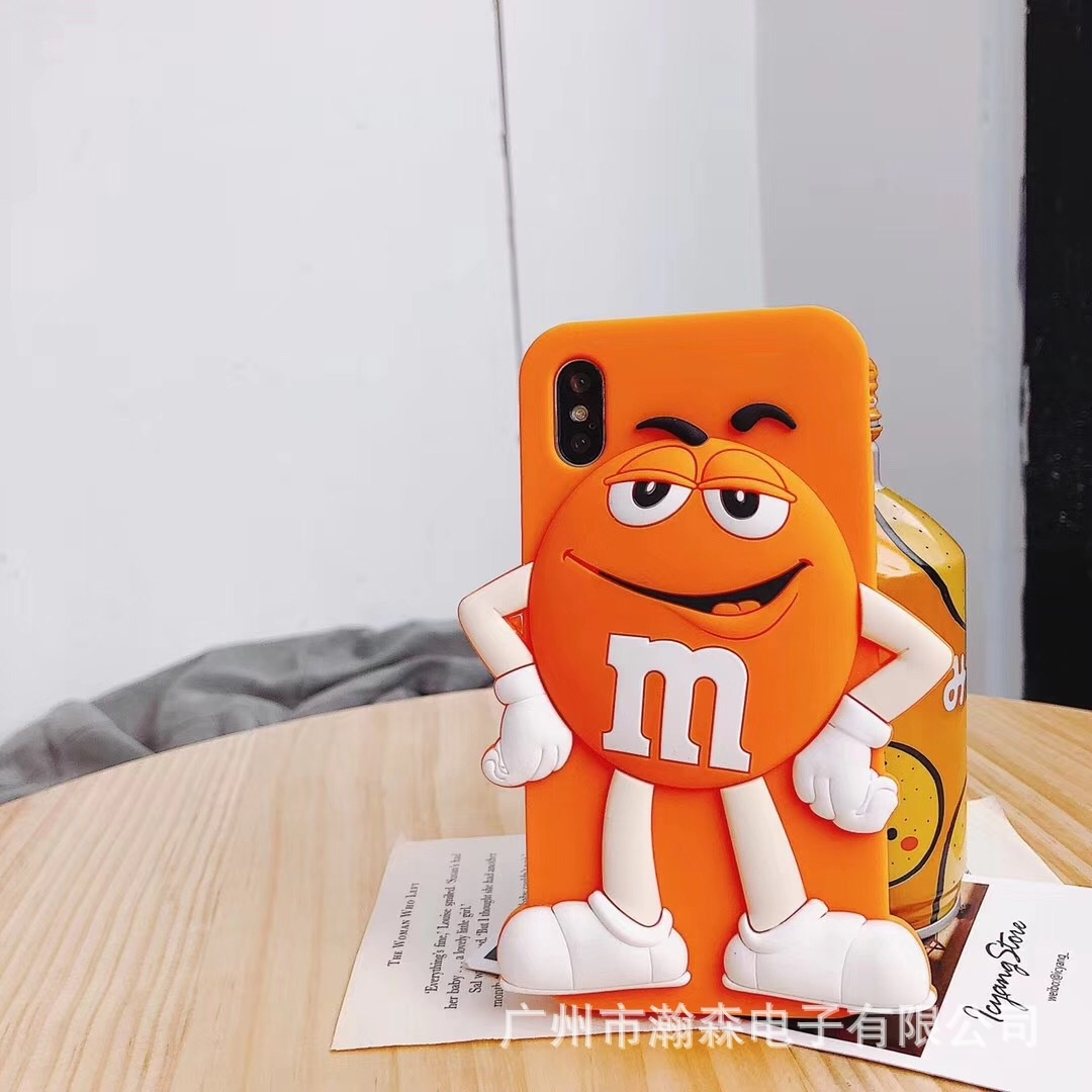 Чехлы для телефонов Силиконовый чехол обложка с забавным мультяшным шоколадным 3D персонажем M&Ms для iPhone 6 / 6s / 7 / 8 iphone 6p / 6sp /7 p /9 pl  iphone x xs (Фото 5)