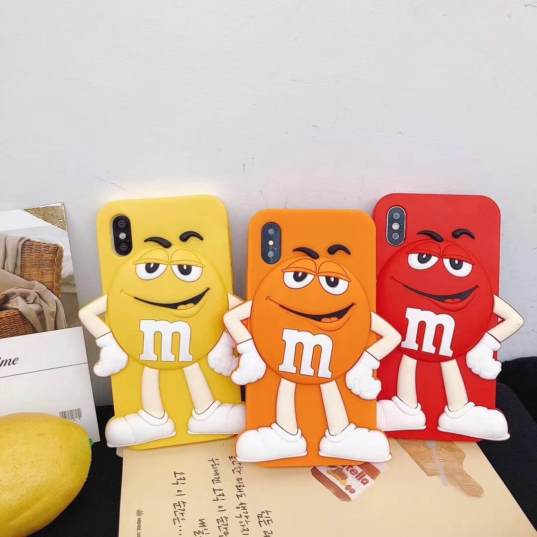 Чехлы для телефонов Силиконовый чехол обложка с забавным мультяшным шоколадным 3D персонажем M&Ms для iPhone 6 / 6s / 7 / 8 iphone 6p / 6sp /7 p /9 pl  iphone x xs (Фото 1)