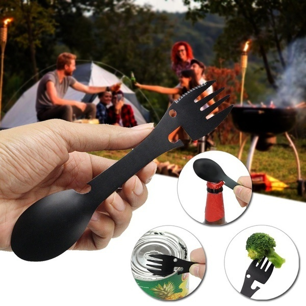 spoonfork, sawtoothcutter, portable, camping