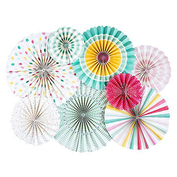 8pcs/set Oversized Hanging Paper Fan For Birthday Wedding Party Decoration  Wedding Holiday Party Home Decoration Paper Flower DIY Handmade Craft
