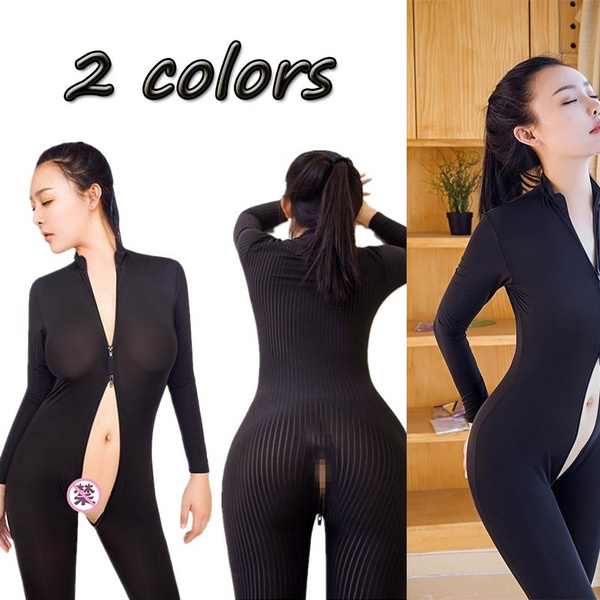 22270b3e52f07 Dame Black Striped Sheer Sexy Bodysuit Smooth Fiber 2 Zipper Long Sleeve  Jumpsuit