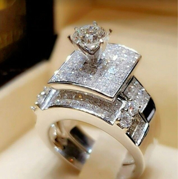 New Women Engagement Wedding Ring Set 925 Saphhire Silver Ring Jewelry Sz.5-11