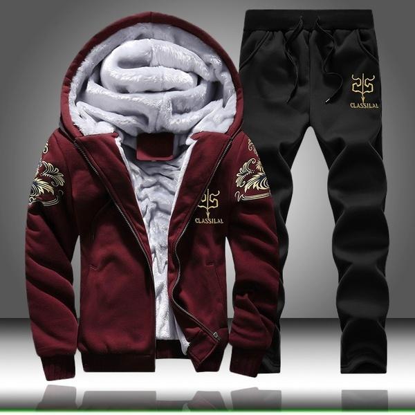 Men Winter Outfits Fleece Coat+Sweatpants Warm Hooded Jacket Fashion Sport  Tracksuit