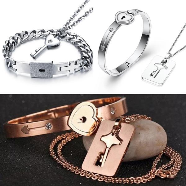Heart Love Lock Bracelet With Key