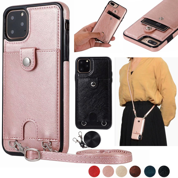 2c0688dffaa2 Multifunction Leather Wallet Case Card Slot Holder with Crossbody Strap  Chain Protective Case Cover for iPhone XS Max XR XS X iPhone 8 8 Plus/7 7  ...