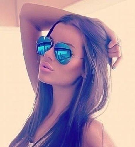 827414221 Zlau Blue Mirror Aviator Sunglasses gold Frame Hot Famous Cool ...
