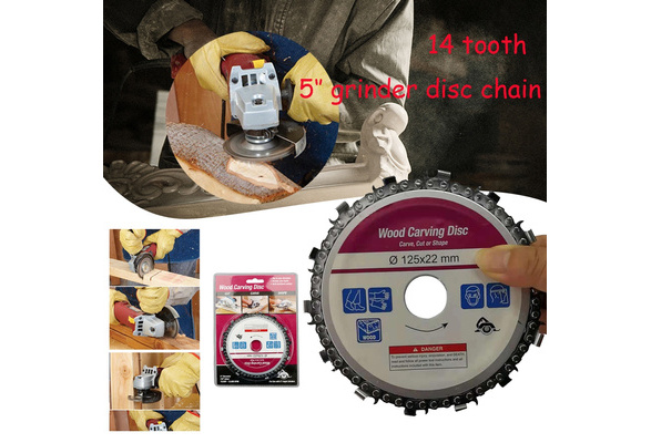 5 Inch Grinder Chain Disc 22mm Arbor 14 Teeth Wood Carving Disc For 125mm  Angle Grinder HT2371